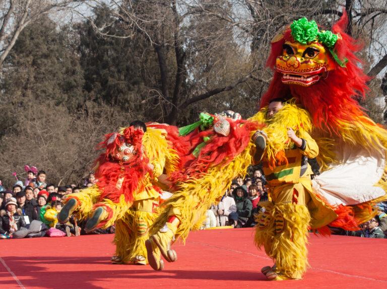 Lion dance Beijing Longtan park