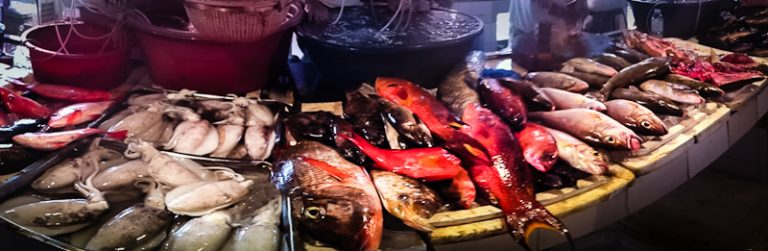 Fresh seafood on the Talipapa market, Boracay, Filippines